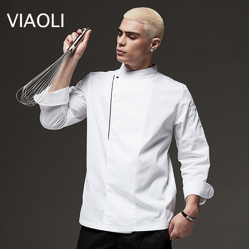 New Long/Short-sleeve Chef Uniforms Restaurant Hotel Chef Jacket Kitchen Cook Shirt Unisex Kitchen Work Clothes Waiter Overalls