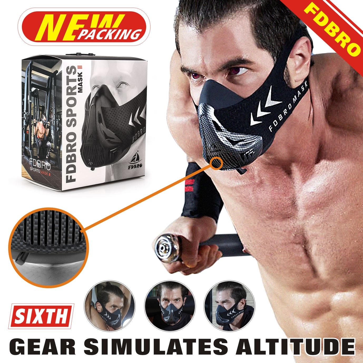 FDBRO Workout ,Running , Resistance ,Sports Mask Fitness Elevation ,Cardio ,Endurance Mask for Fitness Training Sports Mask 3.0 1
