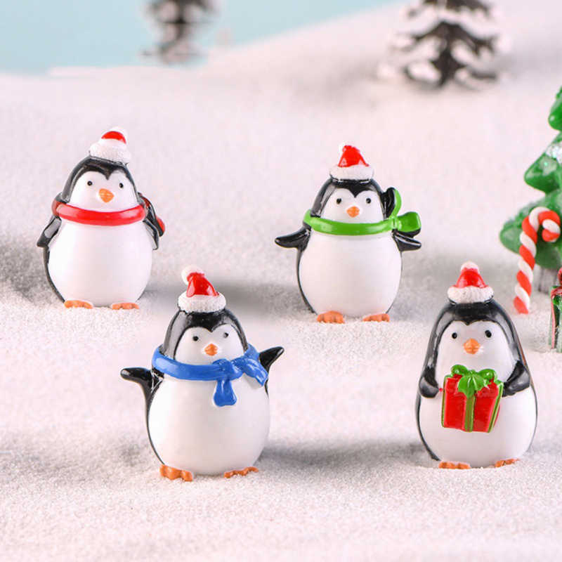 Cute Mini Penguin Ornaments Micro Landscape Christmas Ornaments Decoration Garden Bonsai Small Penguin for Home Decor 1PC