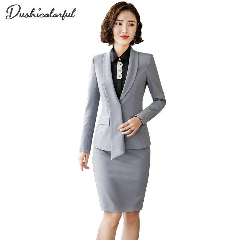 Femmes jupe formelle costumes 2 pièce ensemble vêtements de travail bureau uniformes conceptions femmes costumes blazers feminin élégant business pantalon costumes