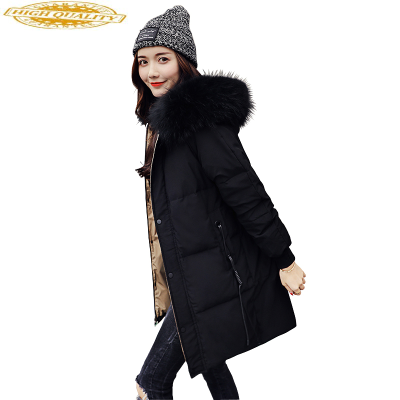 Women's Winter Down Jacket 2020 Long Puffer Duck Down Coat Large Raccoon Fur Collar Warm Doudoune Femme Hiver KJ3536