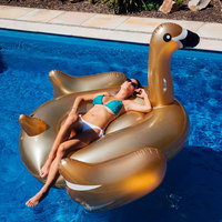Large Size Thick Adult Riding Gold Swan Riding Floating Row Inflatable Manufacturers Profession Production PVC Inflatable Produc