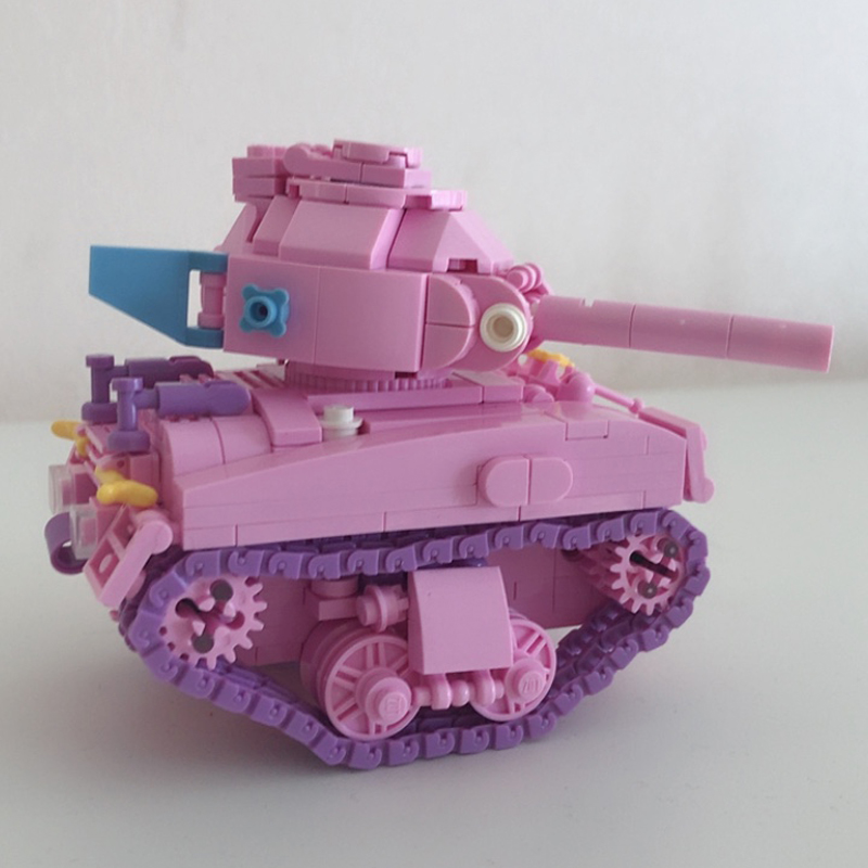 LOZ 1118 Army Military Pink Heart Tank Vehicle 3D DIY Mini Blocks Building Toy