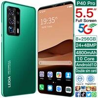 Galaxy P40 Pro 5.5 Cal Smartphone 4800mAh baterii Face ID Android 10.0 telefon komórkowy 24 + 48MP 10 rdzeń 5G podstawka na telefon komórkowy Google