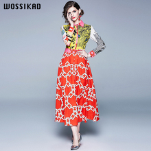 Dress Women Vintage Leopard Print Party Dresses Evening Long Sleeve Sexy Floral Maxi Vobe Ropa Mujer Vestido