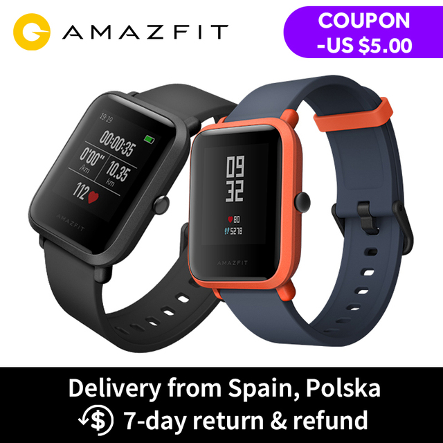 English Version Huami Amazfit Bip Smart Watch Always-on Screen 32g Ultra-Light IP68 Waterproof GPS Watch Heart Rate