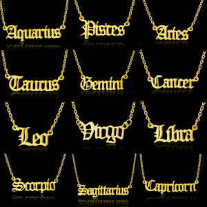 Old English Letter Zodiac Sign Necklace Women Gold Silver Color Stainless Steel Chain 12 Constellations Pendant Necklace Jewelry