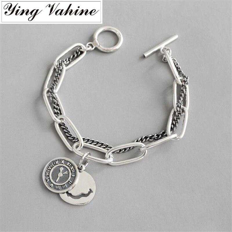 Ying Vahine saint valentin cadeau 100% 925 en argent Sterling horloge pendentif charme bracelets pour femme & hommes Couple Bracelet