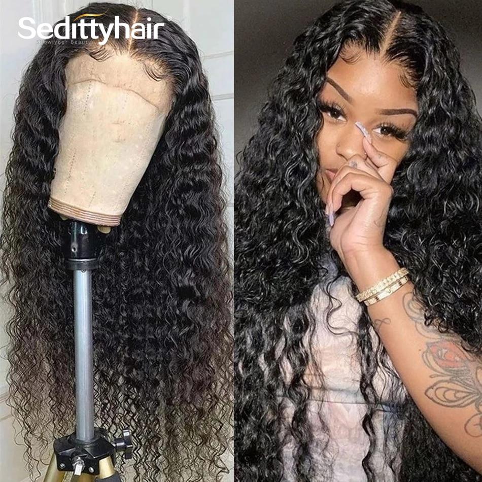 Onda profunda brasileira 28 30 Polegada 13x4 frente do laço perucas de cabelo humano kinky encaracolado água pré arrancado frontal para preto mulher 180% completo