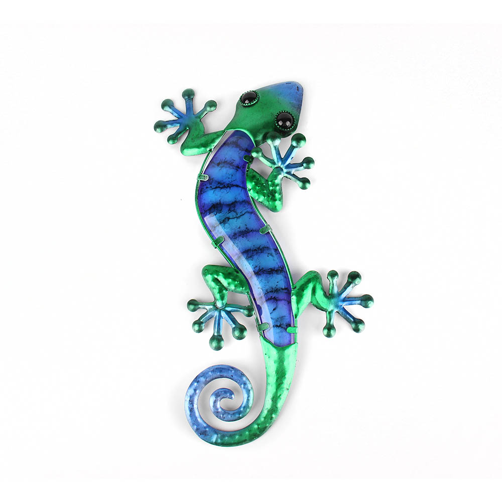 Metal Lizard Wall Art with Green Glass Painting for Garden Outdoor Decoration Animal Statues and Sculptures 2