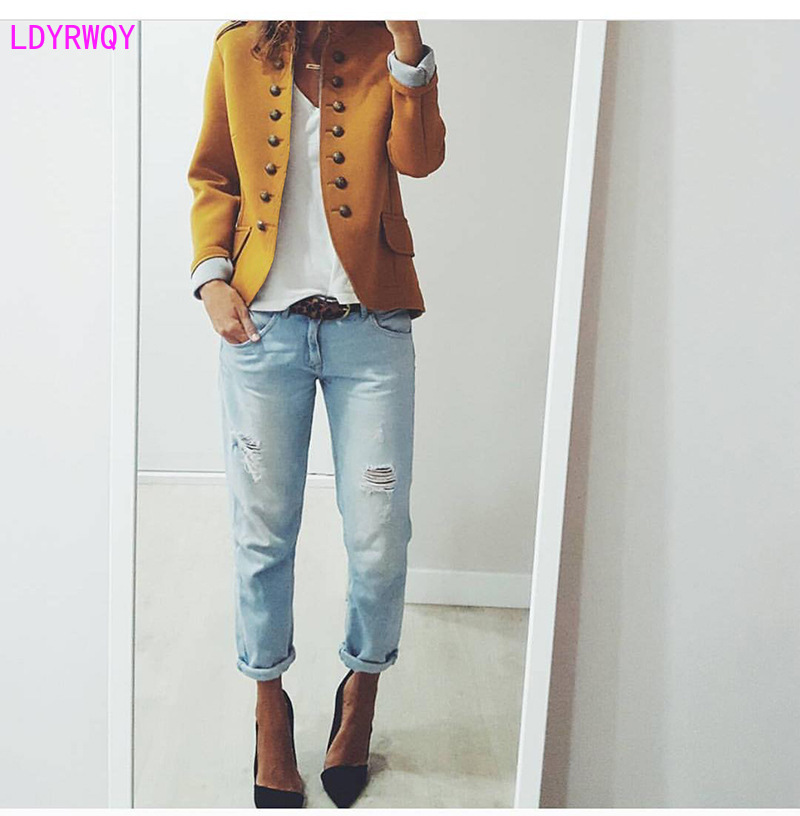 2019 autumn and winter European and American style fashion stand collar slim slim double-breasted temperament coat