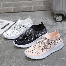 Женские кроссовки Стразы 2021 женская обувь с блестками Повседневная