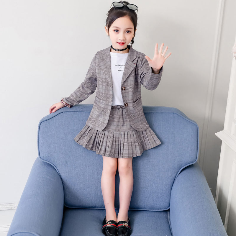 <font><b>Japanese</b></font> Style <font><b>Schoolgirl</b></font> Plaid Skirt + Jacket Blazer Clothing Girls School Suit for Kids Fashion <font><b>Sexy</b></font> Uniforms Costume Blazer image