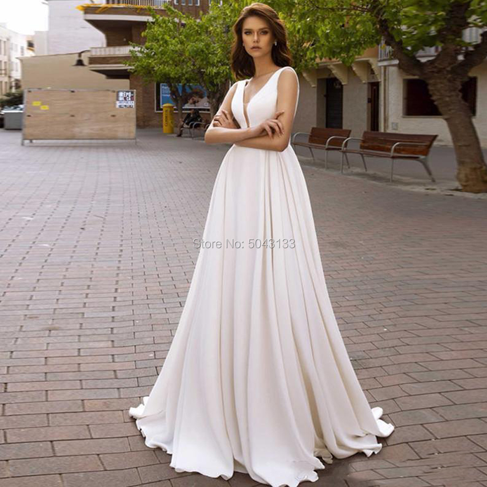 Simple Satin A-Line Wedding Dresses Vestidos Novia Deep V Neck Low Backless Long Bridal Dress Boho Wedding Gowns With Pockets