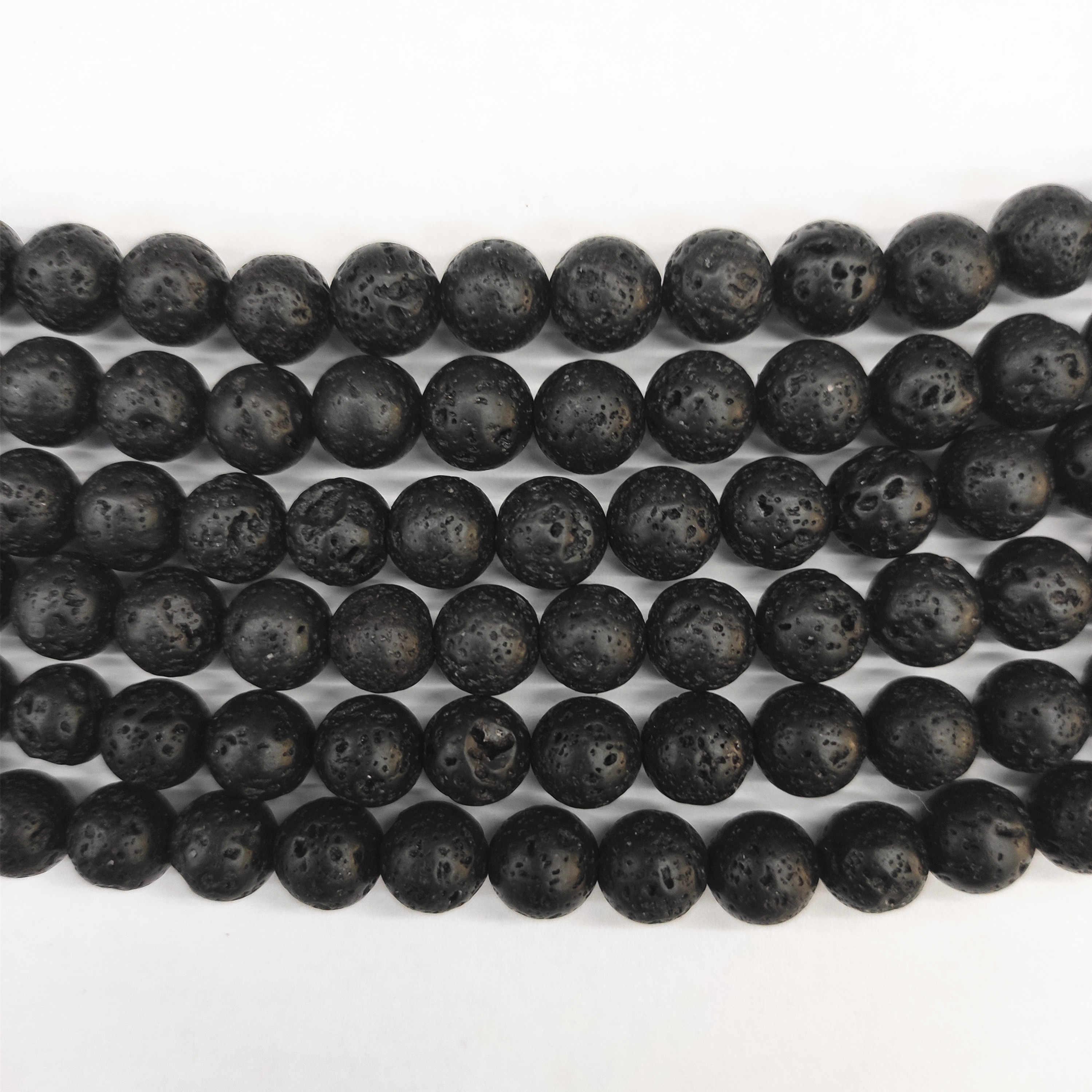 Kamień naturalny czarny lawa wulkaniczny kamień okrągły luźne koraliki 4/6/8/10/12MM Fit DIY paciorki do tworzenia biżuterii akcesoria 15