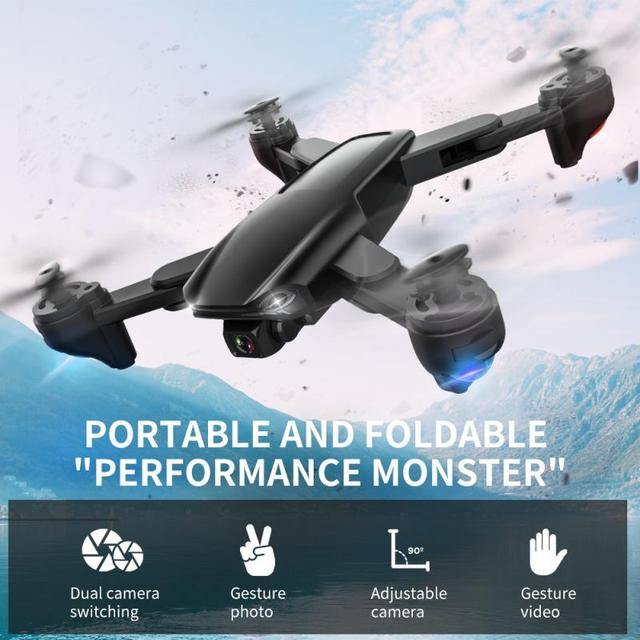 Foldable Drone Wifi With 4K Wide Angle Anti Shake Dual Camera Short  Charging Time Headless Mode Light Portable 6 Axis Aircraft 1