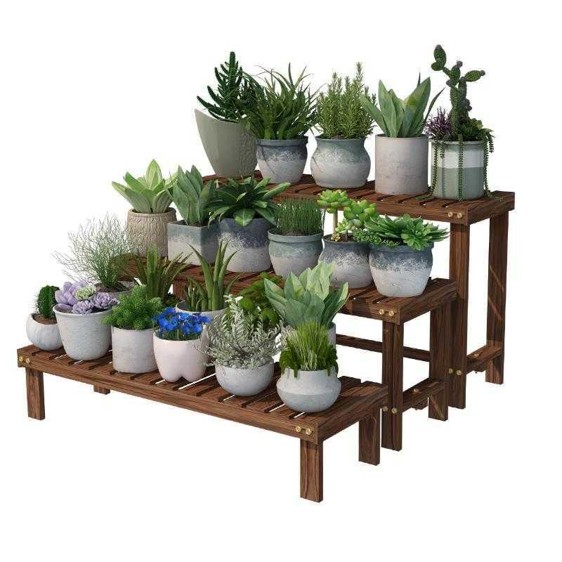 Repisa Para Plantas Wooden Shelves For Estanteria Escalera Dekoration Stojak Na Kwiaty Balcony Outdoor Flower Stand Plant Shelf
