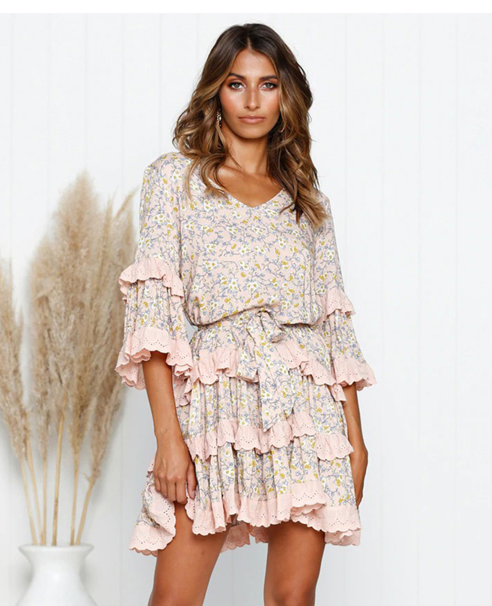 Vintage Floral Pleated V neck Mid Sleeve Short Mini Ruffles Dress 8