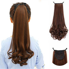 LUPU 22 Inches Long Curly Synthetic Ponytail in Drawstring Hairpieces High Temperature Fiber Hair Tail For Women(China)