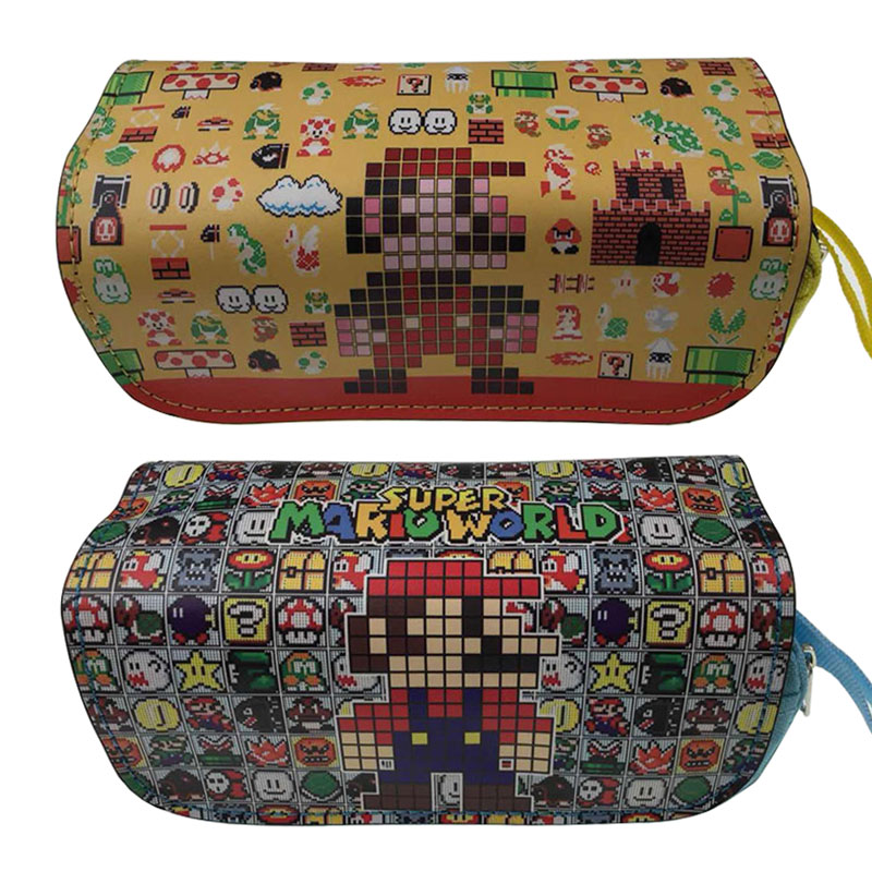 Game Cartoon Cute Pencil Bag Stationery Bag Super Mario Cosmetic Bags Cases Gift Teenager Double Zipper Makeup Case Pencilcase