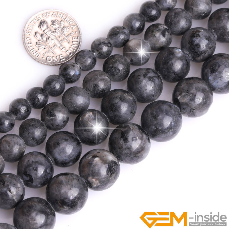 2mm Big Hole Round Bead Rainbow Black Larvikite Stone Beads For Jewelry Making Strand 15 Inch DIY Jewelry Bead For Bracelet