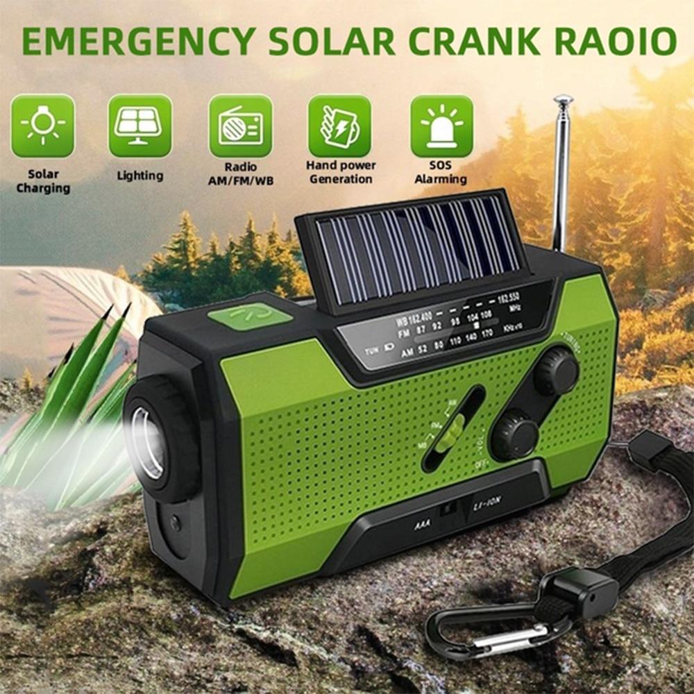Haut-parleurs Radio multifonctions portables AM/FM/WB récepteur Radio à manivelle solaire lampe de poche stéréo extérieure alarme de batterie externe SoS