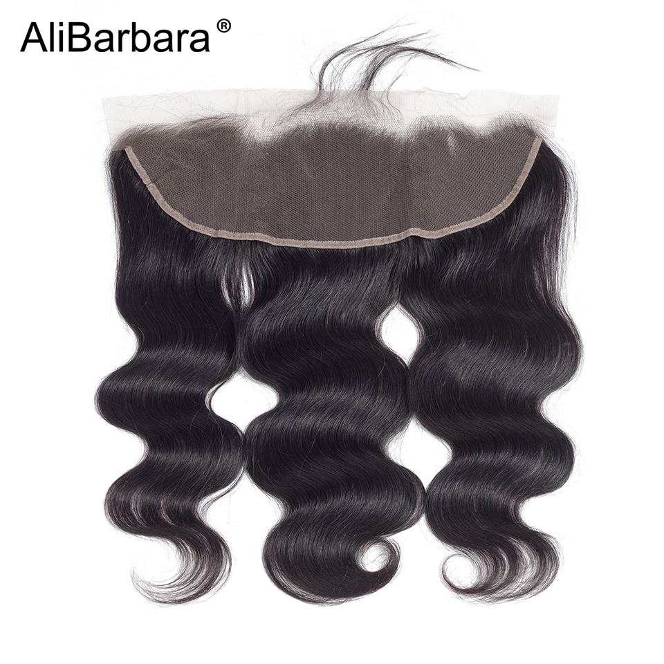 Image 4 - AliBarbara Remy Brazilian Body Wave Bundles With Frontal Closure 13X4 ear to ear Human Hair frontal with Bundles swiss lace-in 3/4 Bundles with Closure from Hair Extensions & Wigs