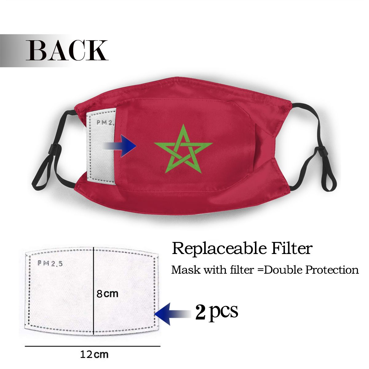Protective Mask With Filter Morocco Flag Anti Dust PM2.5 Reuse Adult Teen Child Girl