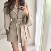 Женское однотонное пальто Осень зима корейский стиль элегантный