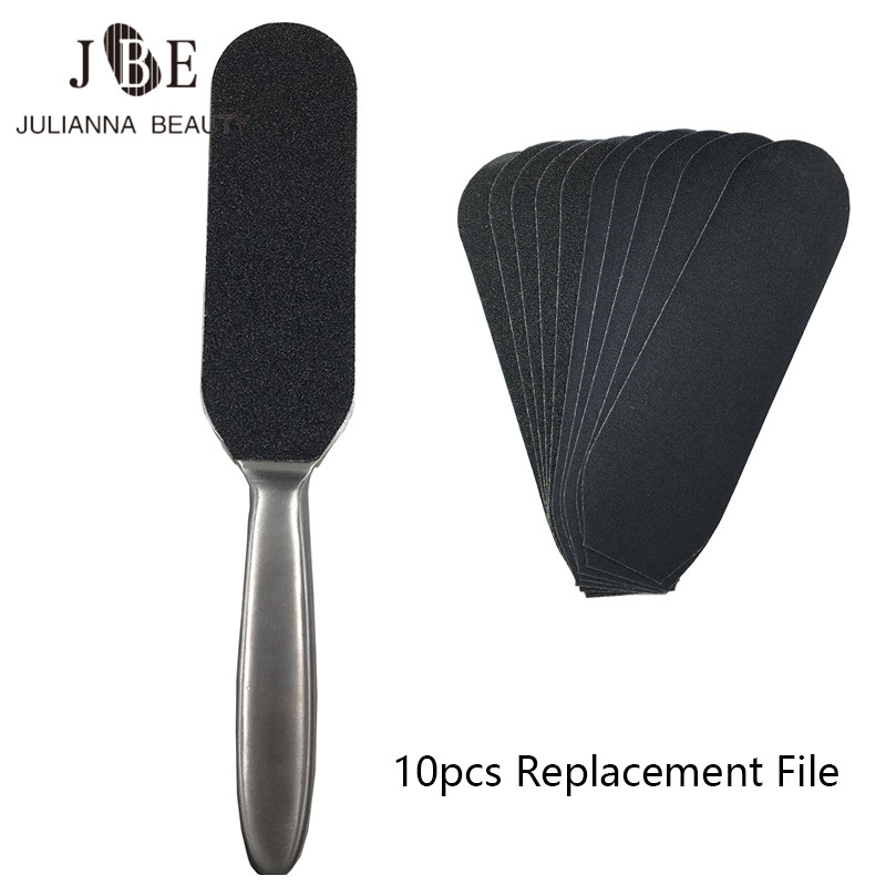 10pc Sand Paper File Replacement + Metal Double Sided Foot File Handle For Pedicure Foot Care Calluses Dead Skin Remover Tool