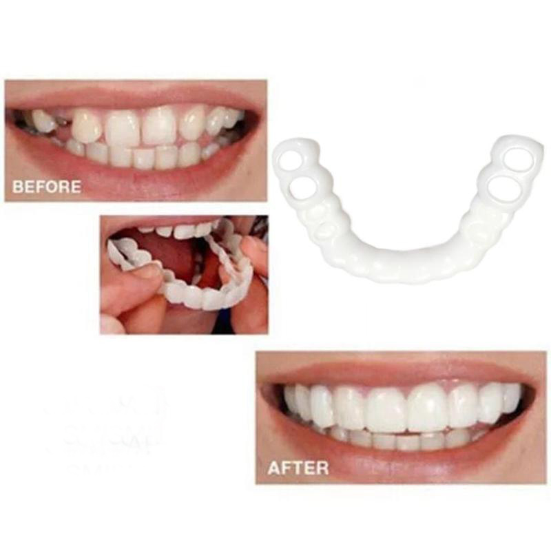 2pcs/Set  Teeth Veneers Whitening Cosmetic Denture Instant Perfect Smile Teeth Fake Tooth Cover Hygiene Tools