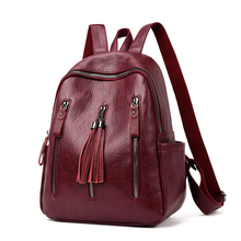 2020 Fashion Women Backpack PU Leather Casual Tassel Bags High Quality Female Shoulder Bags Travel Backpacks For Girls