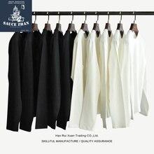 SauceZhan Camiseta de algodón grueso Vintage para hombre, ropa informal lisa de cuello redondo, tres agujas