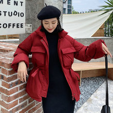 Casual Winter Jacket Women Stand Collar Red Coat Female Parkas Loose Thick Warm Zipper Down Cotton Ladies Korean Outerwear 2019 цены онлайн