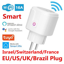 WiFi Smart Plug Socket EU Brazil 16A Power Monitor Timing Function Tuya SmartLife APP Control Works With Alexa Google Assistant
