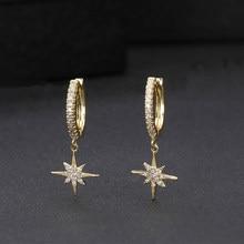 Neue Art Und Weise Nette Sterne Gold Ohrringe Top Qualität cz Kristall clssic Charme gold Ohrringe Für Frauen Mädchen Schmuck Geschenk