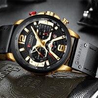 Uhren Männer Mode Militär Sport Quarz Armbanduhren für Männlichen Edelstahl Uhr Chronograph und Datum Lederband Uhr
