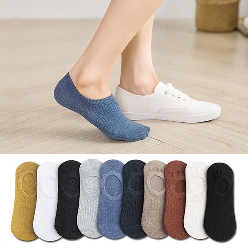 5 Pairs Women's Silicone Non-slip Invisible Socks Summer Solid Color Ankle Boat Socks Female Soft Cotton Slipper Socks 35-40 EUR