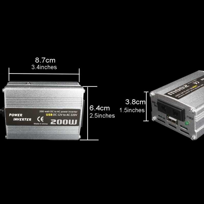 200W Inversor de Potência Do Carro Dc 12V A 220V Ac Conversor Adaptador de Carregador de Carro Dual Usb Poder Impulsionador -prata