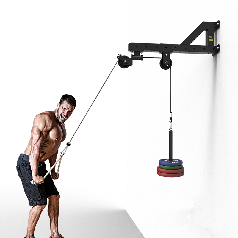 Home Gym Wall-mounted Cable Machine Attachments Workout Triceps Biceps Pulley System Fitness Pull Down Rope Equipment F1094