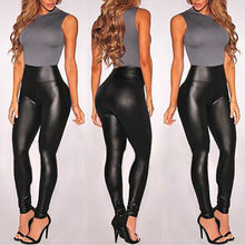Vadim 2020 Summer Women Leather Shiny Sexy Leggings High Waist Black Stretchy Faux Leather Tight Pant Mujer Leggings Ropa(China)
