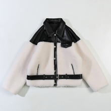 Lamb Wool Fur-Trend Coat Short Sheep-Shearling Korean-Version Thicken Winter New of Splicing
