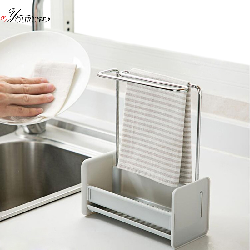 OYOURLIFE Multi-function Kitchen Sink Organizer Sink Sponge Holder Drain Drying Rack Bathroom Kitchen Sink Accessories Holder