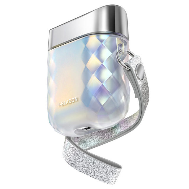 For Airpods 1st/2nd i blason Gems Series Case Cover With Wrist Strap Designed For Airpods 1st/2nd (Translucent Iridescent)