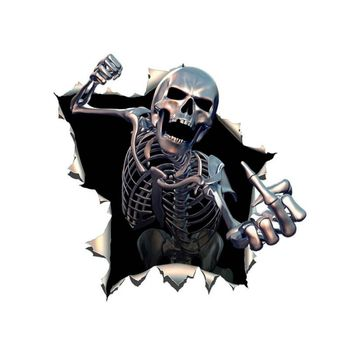 Car Sticker Motorcycle Decal Personalized Decals Middle Finger 3D Death Skull Rush Out Vinyl Waterproof image