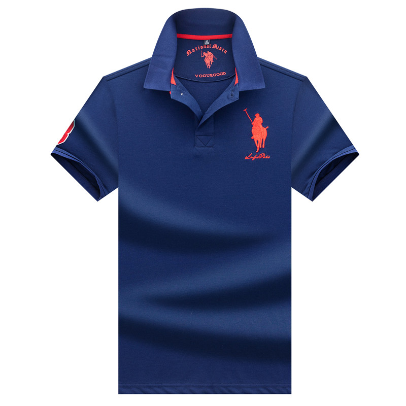 Classic Solid Color Men's Short Sleeve Polo Shirt High Quality 3D Embroidery 95% Cotton Breathable Summer Tees Polo Shirt Men