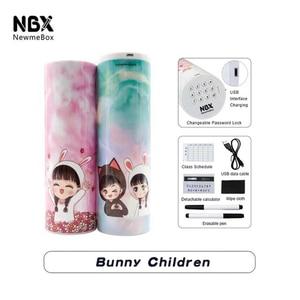 Image 5 - NBX קלמר סיסמא דלת כפולה ספר עבור בנות ורוד גדול קיבולת עט תיבת חמוד קוסמטיקה קופסות אחסון תיק