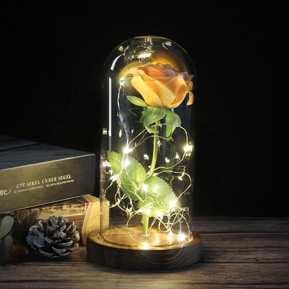 Средняя красота и чудовище Роза, Роза в стеклянном куполе, навсегда Роза, красная роза, консервированная Роза, Белль Роза, особый романтический подарок - Цвет: charcoal  yellow