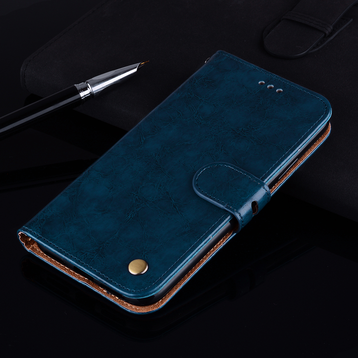 Leather Wallet Case For <font><b>Huawei</b></font> Y5 Prime 2018 <font><b>DRA</b></font>-<font><b>L21</b></font> Y5 2018 <font><b>DRA</b></font>-LX2 Phone Stand Flip Capa <font><b>Huawei</b></font> Y5 Lite <font><b>DRA</b></font>-LX5 Silicone Cover image