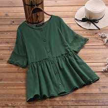 Plus Size 5XL 2021 ZANZEA Casual Peplum Shirts Women Lace Patchwork Blouse Kaftan Half Sleeve Crochet Blusas Female Ruffle Tunic